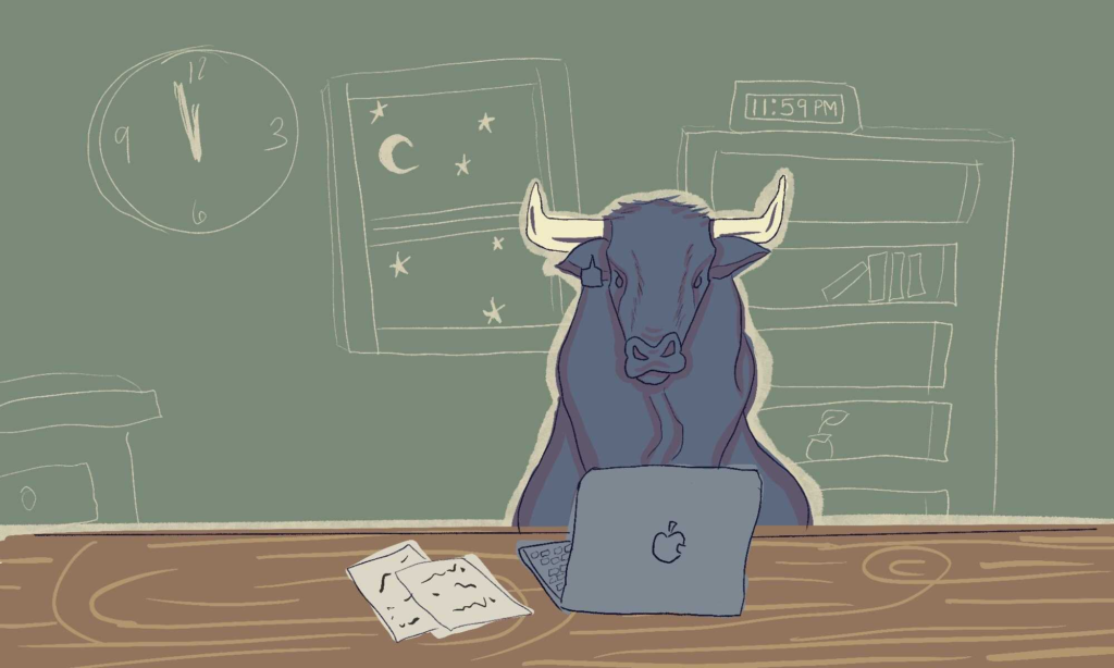 A bull sitting in front of a laptop at midnight.