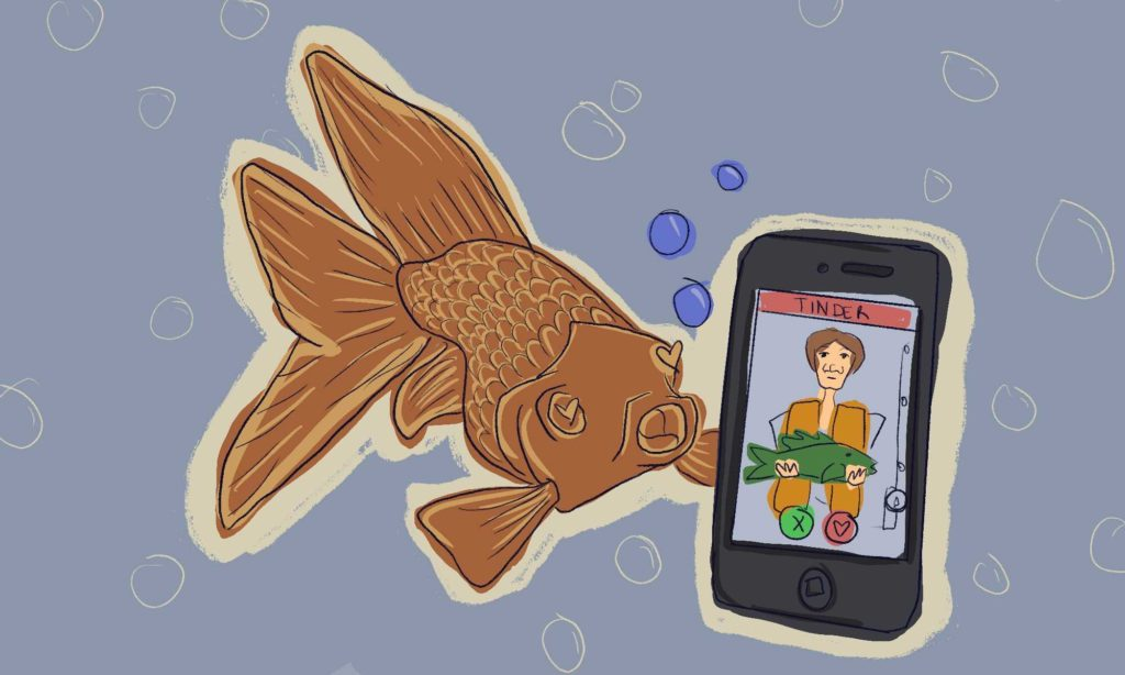 A fish holds a phone showing a Tinder screen