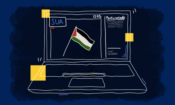 A laptop screen showing a Palestinian flag and a zoom meeting set up.