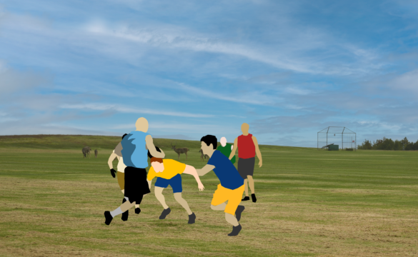 A photo illustration of figures playing a sport on OPERS field.