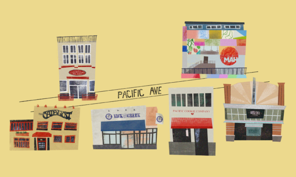 Illustration of storefronts on Pacific Ave